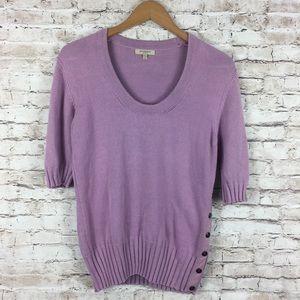 Burberry Purple Lavender Button Sweater Lg